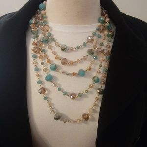 Multi Strand Pastel Glass Bead Necklace
